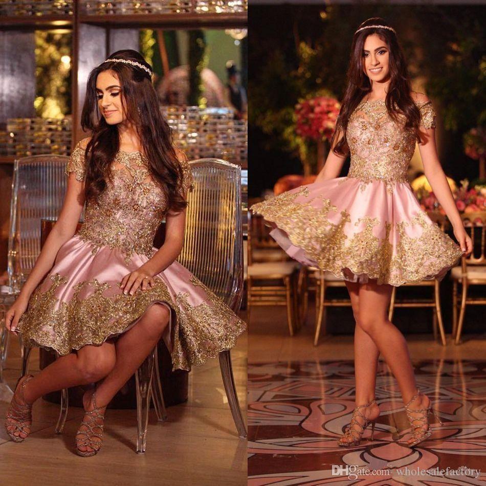 Уникальные розовые короткие платья возвращения на родину с золотыми аппликациями с вышивкой блестками Вечерние платья без бретелек Выпускные платья