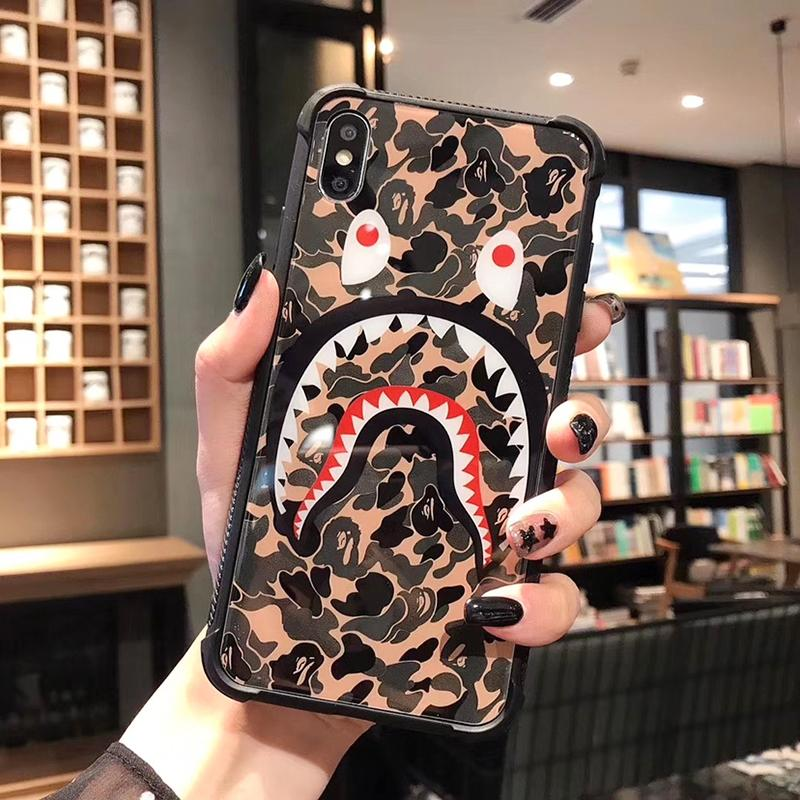 One Piece Luxury phone case For iPhone 6S 7 8 P X XS fashion Camouflage shark mouth Designer phone back cover For gifts