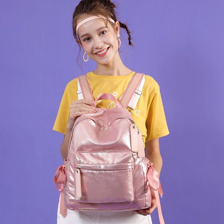 Sırt çantası yeni moda parlak saf altın sırt çantası gelgit kız kampüs lise öğrencisi okul çantası