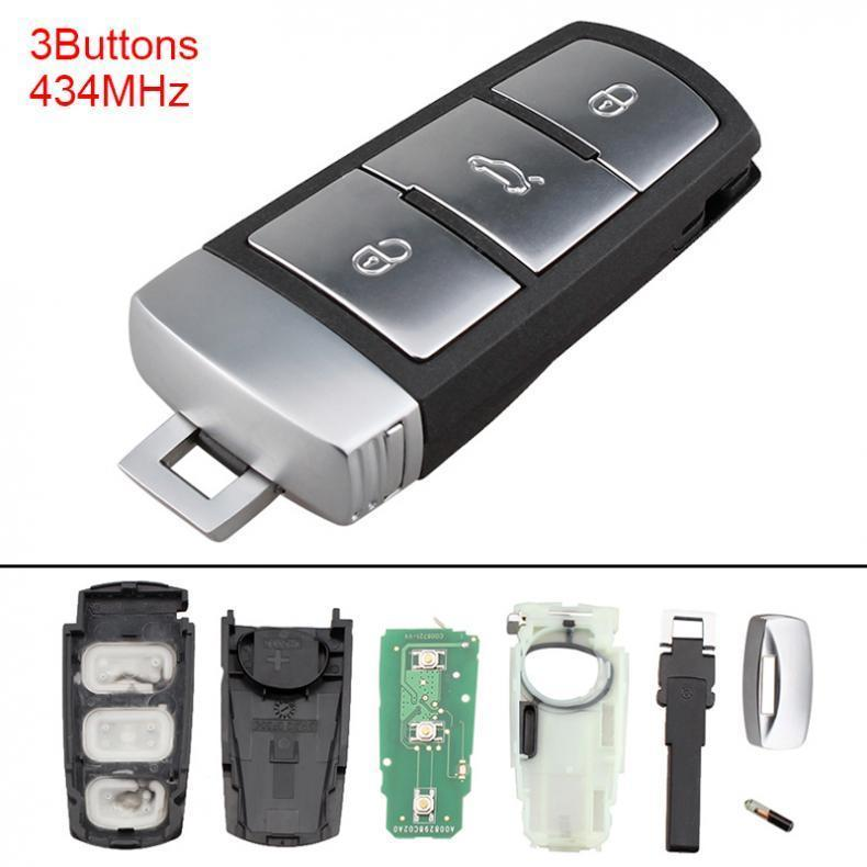 434MHz 2 Buttons Keyless Uncut Flip Remote Key Fob with ID48 Chip for VW Beetle