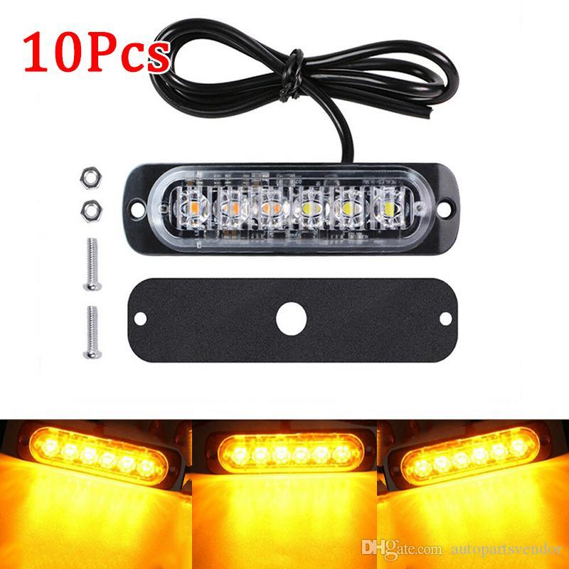 10pcs del coche luces LED ámbar Camión urgente aviso por niebla luminosa de Trabajo Accesorios estroboscópica Lámparas Accesorios para automóviles con 6 LED / pc