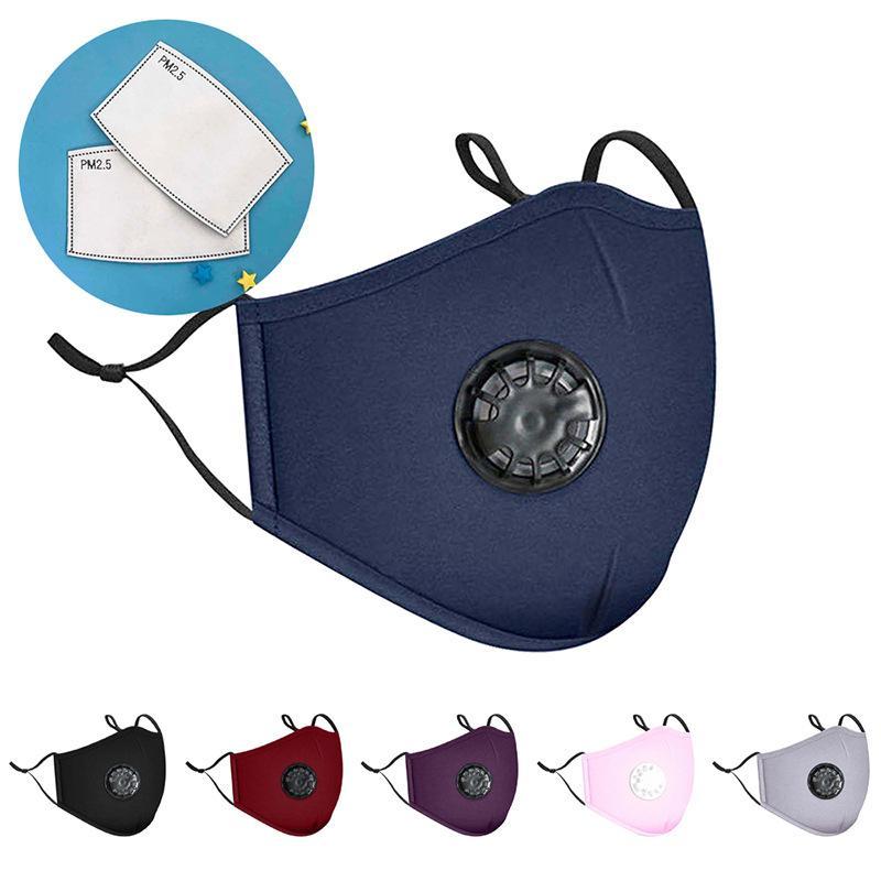 Дыхательный клапан Solid Color Открытый Анти РМ2,5 Смог Пыльца Хлопок Ткань для взрослых Farbic Designer Face Cover Mask