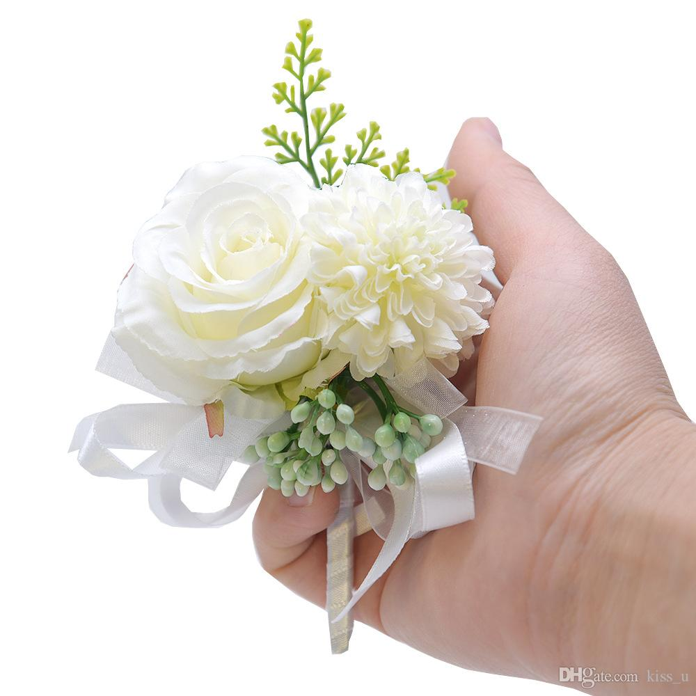 New Groom Boutonniere Fabric Rose Flower Men Accessories Wedding Party Prom Man Suit Corsage Pin Brooch Hand Wrist Flower