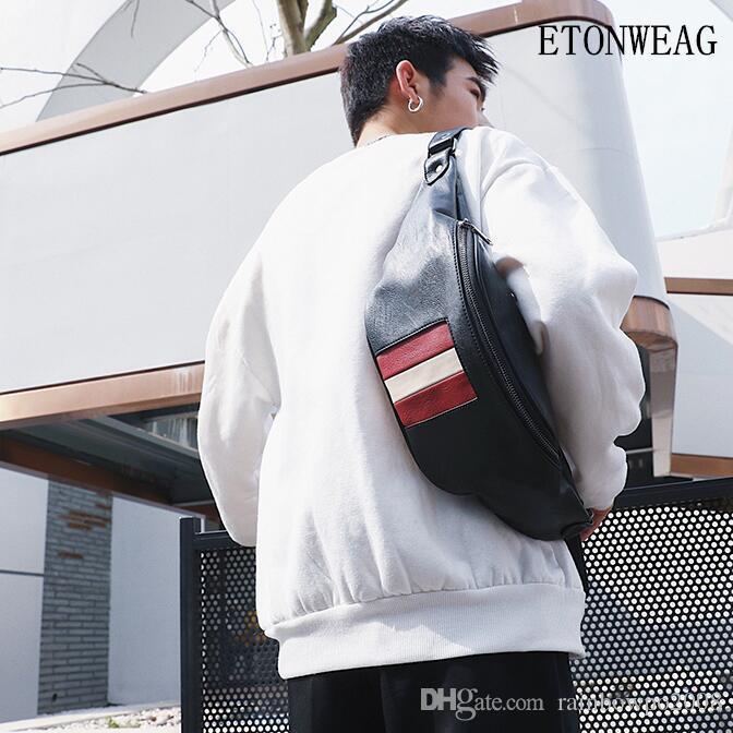 Factory wholesale men handbag new leather men and women lovers chest bag simple stripes men waist back riding bag casual leather messenger b