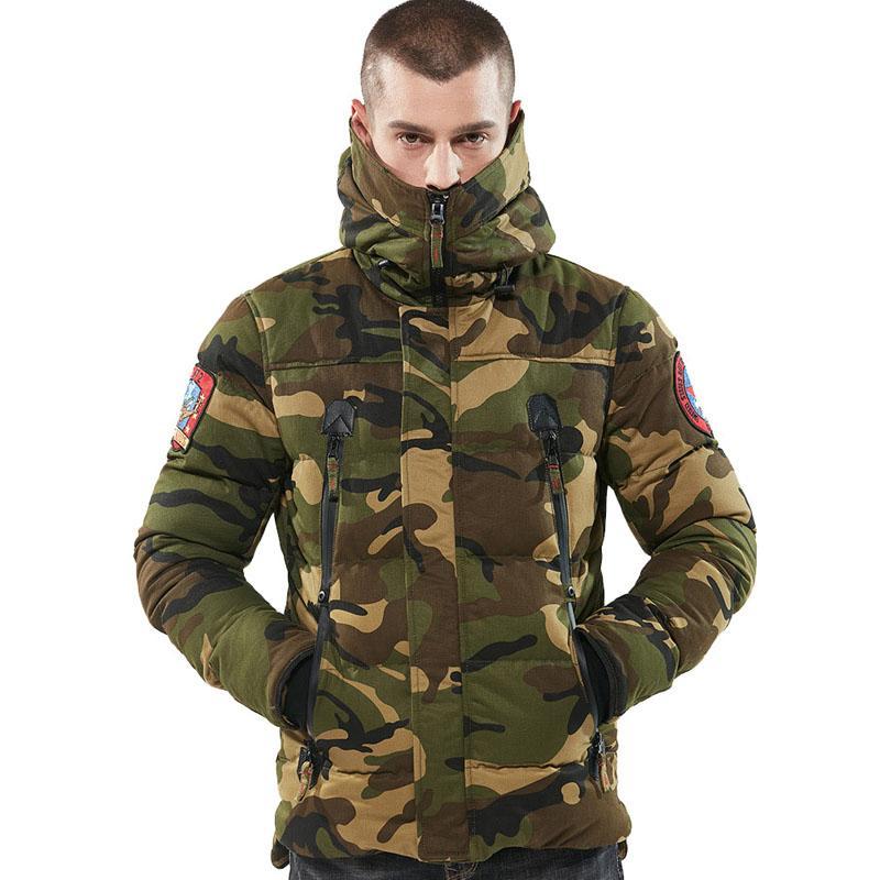 2019 Kış Parka Erkekler Ceketler Pamuk Chaquetas Hombre Kamuflaj Palto Erkek Casual Kamuflaj Erkek Ceketler ve Coats