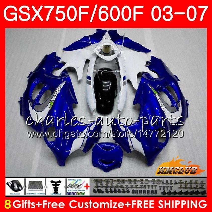 Body Kit voor Suzuki Katana GSXF600 GSXF750 Blauw Wit Top 03 04 05 06 07 3HC.4 GSX750F GSX600F GSXF 750 600 2003 2004 2005 2006 2007 Kuip