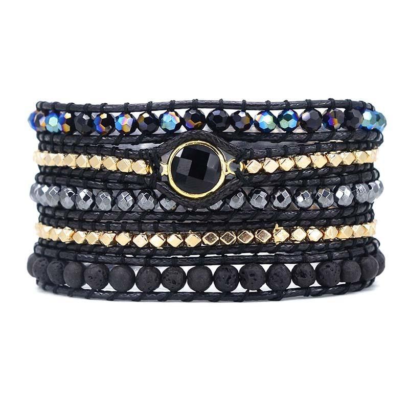Uomini e donne Vegan Bohemian Black Mix in pietra naturale perline 5 bracciali gioielli Y19051002