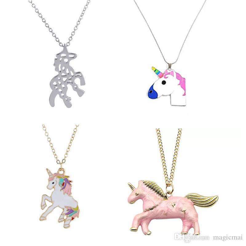 الفتيات قلادة يونيكورن قلادة القلائد الكرتون هورس مجوهرات اكسسوارات المرأة القلائد الحيوان هدية عيد الأفكار الصغيرة 4 أنماط