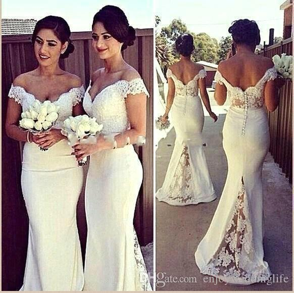 Pure White Vestidos dama de honra Chiffon Alças Lace Applique até o chão Maid of Wedding Party Dresses Honor Vestidos personalizado