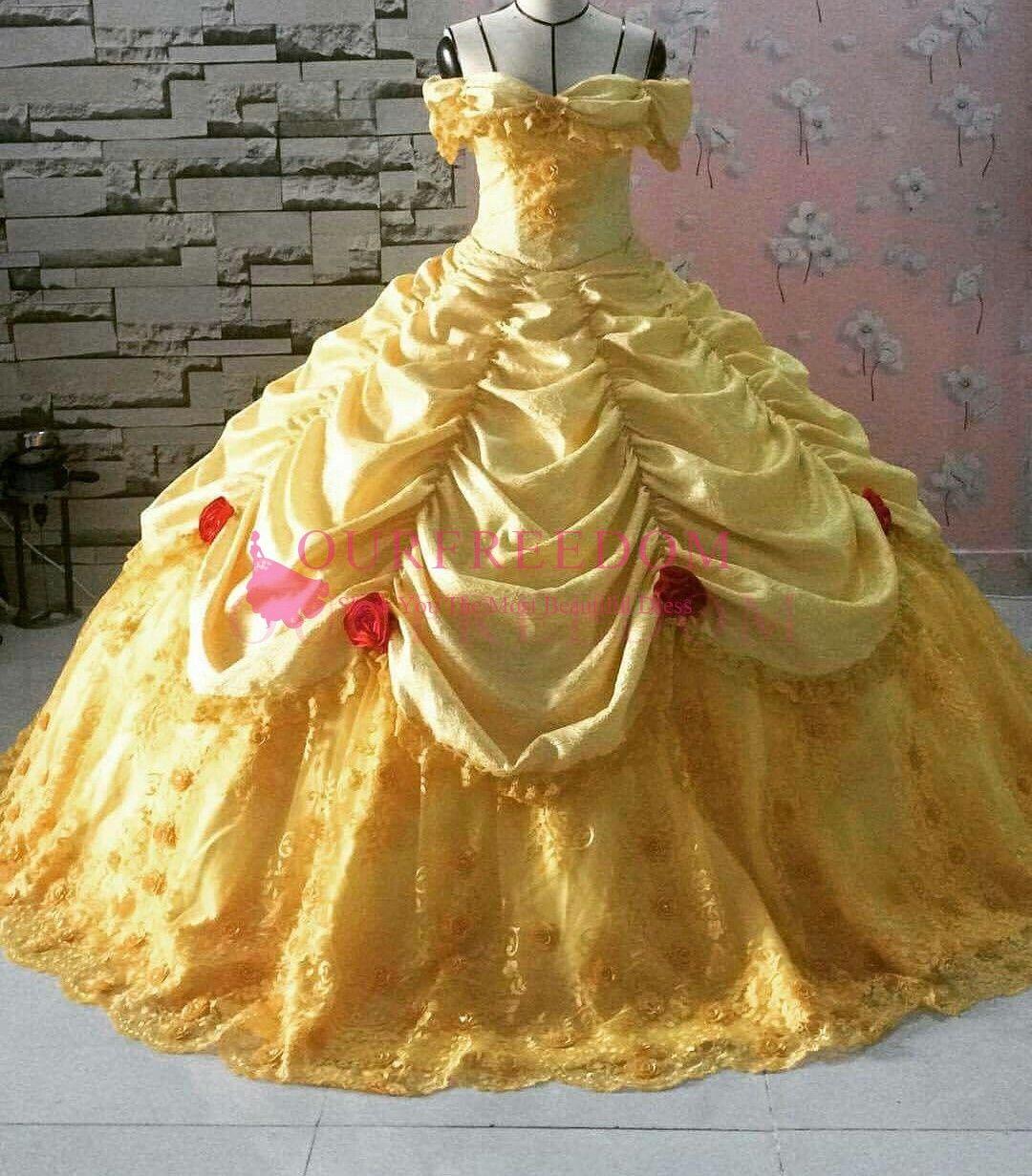 우아한 노란색 Quinceanera 드레스 달콤한 16 18 레이스 rufles 스커트 3D 식물 공식적인 행사 드레스