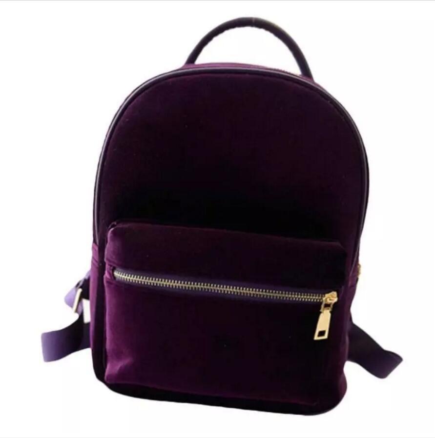 women backpack school bag for girls casual travel small back pack Gold velvet Rucksack backpacks Gift