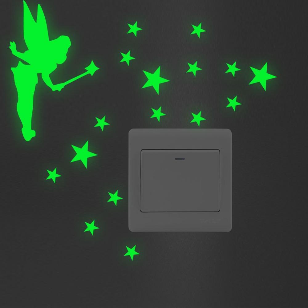 Green-light Luminous Switch Sticker Home Decor Cartoon Glowing Wall Stickers Dark Glow Decoration Sticker, Cat Cute Creative