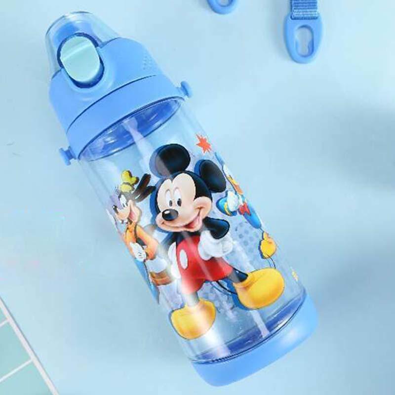 600ml Water Bottle Kids Tritan Plastic Sport Water Bottle with Rope Straight Drinking Press Button Cartoon Kettle Y200330
