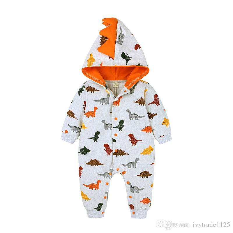 Bebek Çocuk Giyim Romper Bahar Dinozor Unicorn Pirnt Kapüşonlular Romper Bahar Romper giysiler Güz
