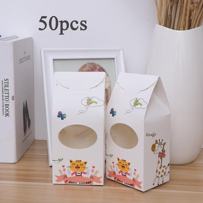 50шт Нуга упаковочный мешок бумажная коробка конфет с окном DIY подарочная коробка упаковка праздничные принадлежности для печенья кондитерские изделия карамель