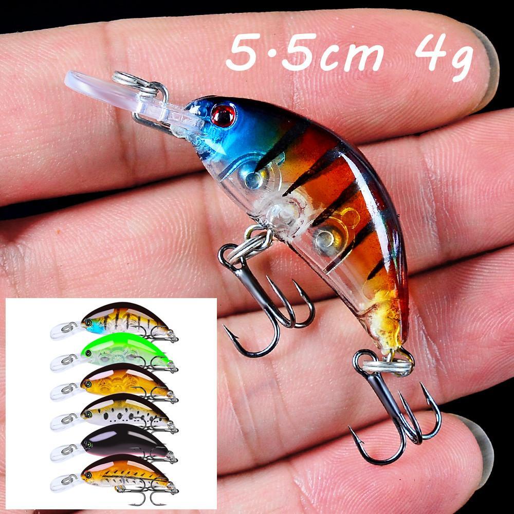 6pcs / lot Crank plastica dura adesca i richiami 6 colore misto 5.5CM 4G 10 # Amo da pesca Ganci Pesca Attrezzatura di pesca BLU_176