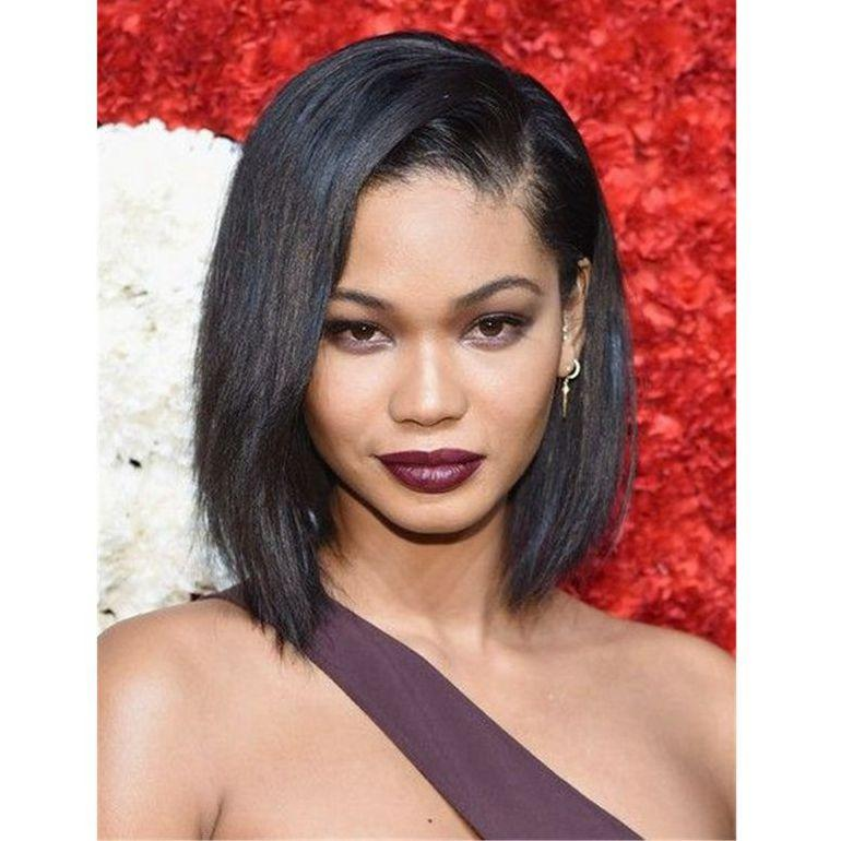 Yaki Straight Bob Wig Brazilian Human Hair Lace Front Wig Glueless Lace Wig Natural Color for Women