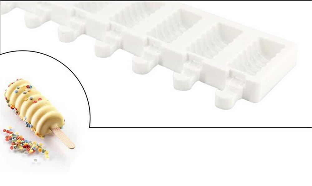 Sıcak Yemek Bar 8 Boşluk Çizgili Dondurma Makineleri Kalıp DIY Kalıplar buz kalıpları Tatlı Kalıplar Tepsi Popsicle Kalıplar