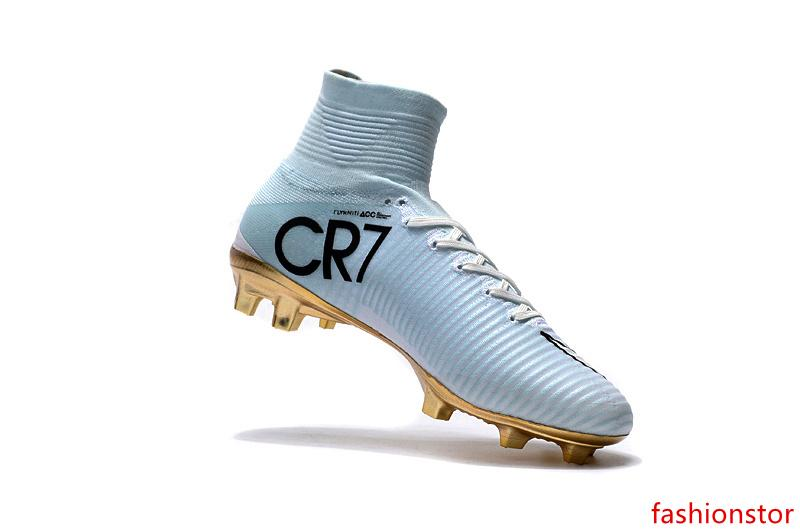 Original White Gold CR7 Unisex Soccer Cleats Mercurial Superfly V CR7 FG Kids Soccer Shoes Ronaldo Children Best Quality Football Boots