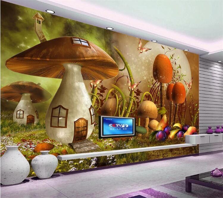 personality 3D wallpaper fantasy cartoon big mushroom decoration children's room TV background wallpaper for walls 3 d