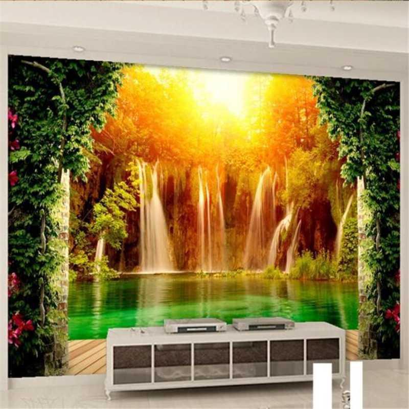 настенная роспись пользовательские обои 3d большие фрески водопад сельский пейзаж 3D гостиная спальня фон обои papel de parede