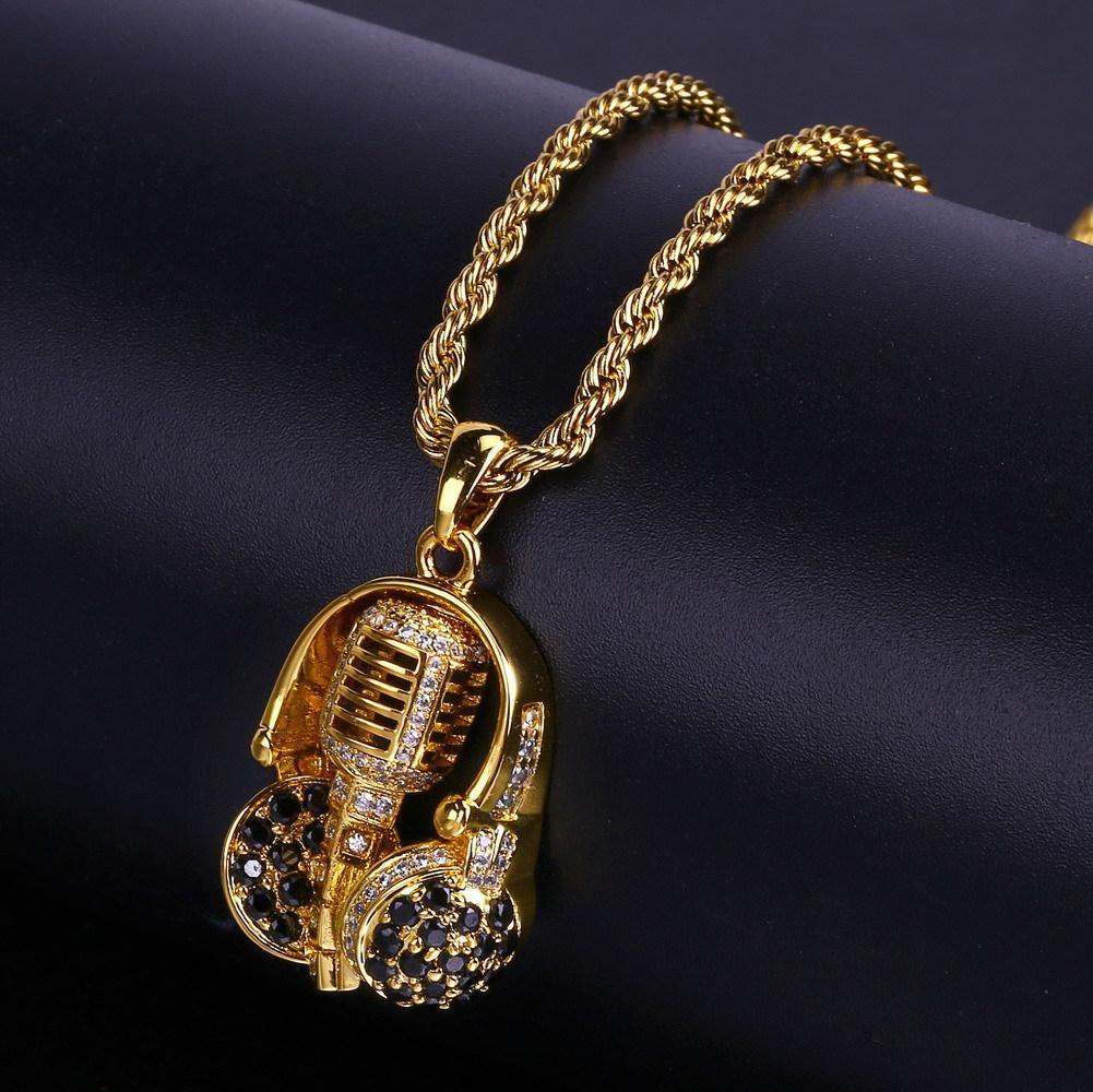 Erkekler ve Kadınlar İçin Yeni Moda Kişiselleştirilmiş 18K Altın Zirkon Kaplama Kulaklık Mikrofon kolye kolye zinciri Hip Hop Punk Takı Hediyeler