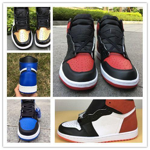 С коробкой Нового 1 6 колец размером синего белых играми королевского MEN баскетбол обувью спортивных кроссовками тренерами высшего качеством 8-13