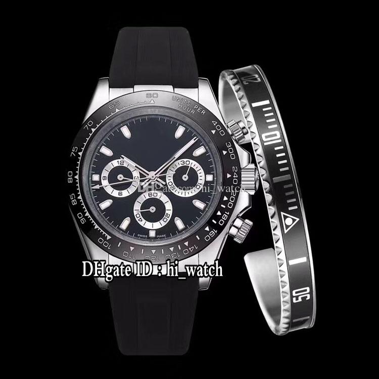 New M116519ln-0025 Automatic Mens Watch Steel Case Black Dial Silver Subdial Watches Rubber Sapphire 7 Colors (Free bracelet) hi_watch 30g7