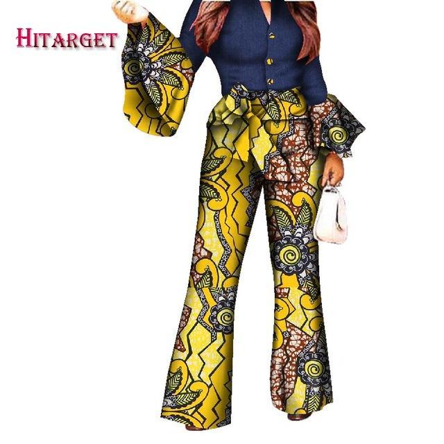 2019 Africano Impressão Mulheres Pant Set Com Decote Em V Orador Manga Romper Calças Perna Larga Senhoras Africano Macacões Macacão WY2772