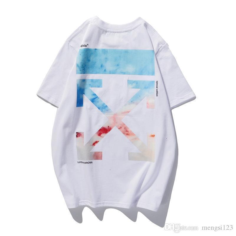 OFF European and American tide clothes white Florence watercolor gradient direct spray printing round neck short sleeve T-shirt