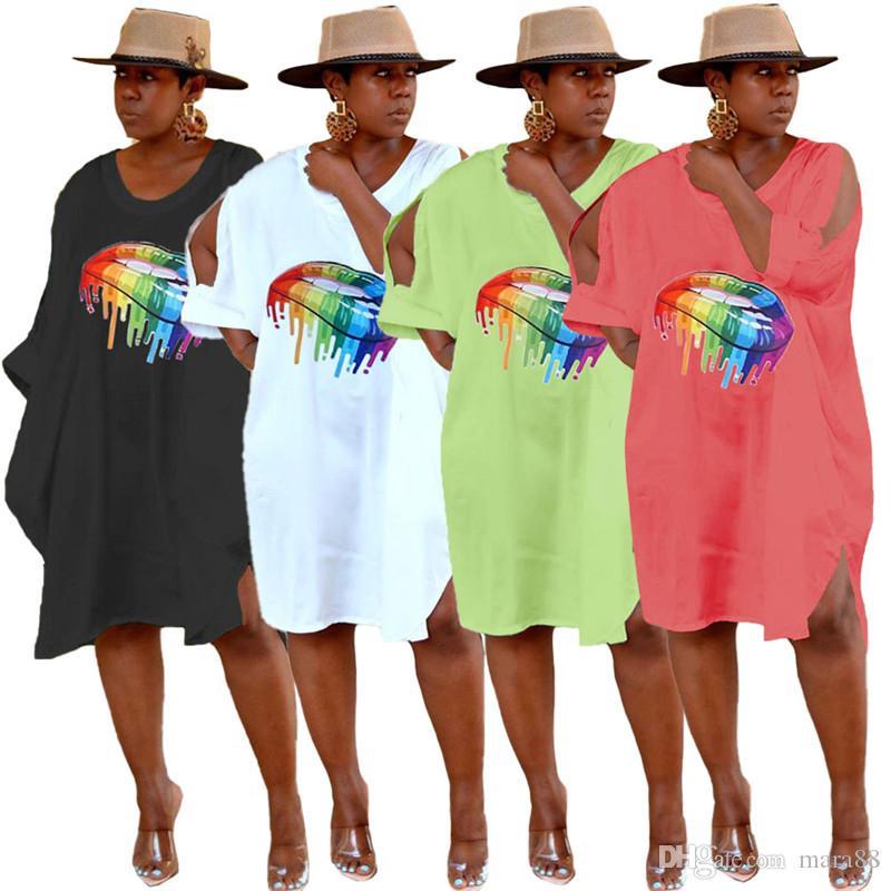 فساتين النساء مصمم تقسيم التنانير ميدي الملابس الصيفية طباعة الفم تي شيرت فساتين قصيرة الأكمام فساتين فضفاضة الساخن بيع بالاضافة الى حجم 893