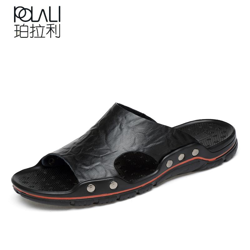POLALI Sommerschuhe Herrenschuhe Größe 38-48 Strand Sandale Mode Herren Sandalen aus Leder Freizeitschuhe Flip Flop Sapatos masculino