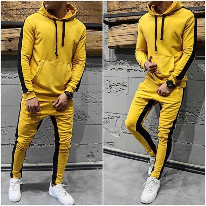 Брюки Части Лоскутных Mens конструктора костюмы вскользь Беговой Бег с капюшоном наборы Hip Hop Style 2