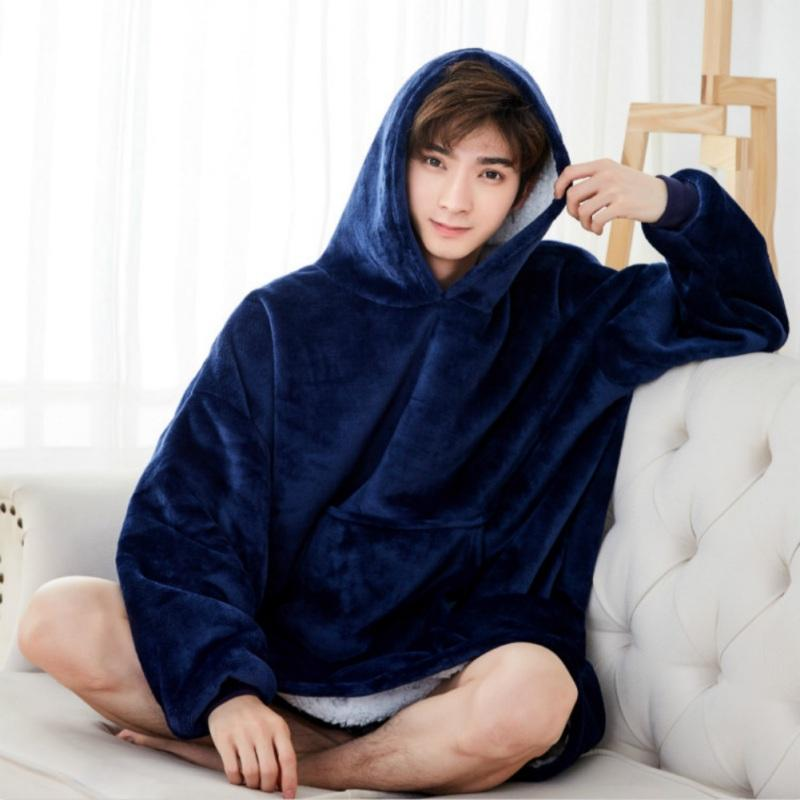 Winter Thick Comfy Tv Blanket Sweatshirt Solid Warm Hooded Blanket