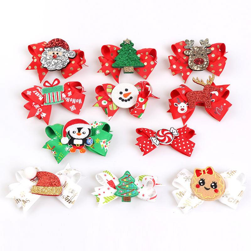 Boutique ins de renne mignon Glitter Mode CRECHET Cartoon bowknot Hairpins Ruban Bow Clips cheveux XMAS New Year Party Couvre-chef