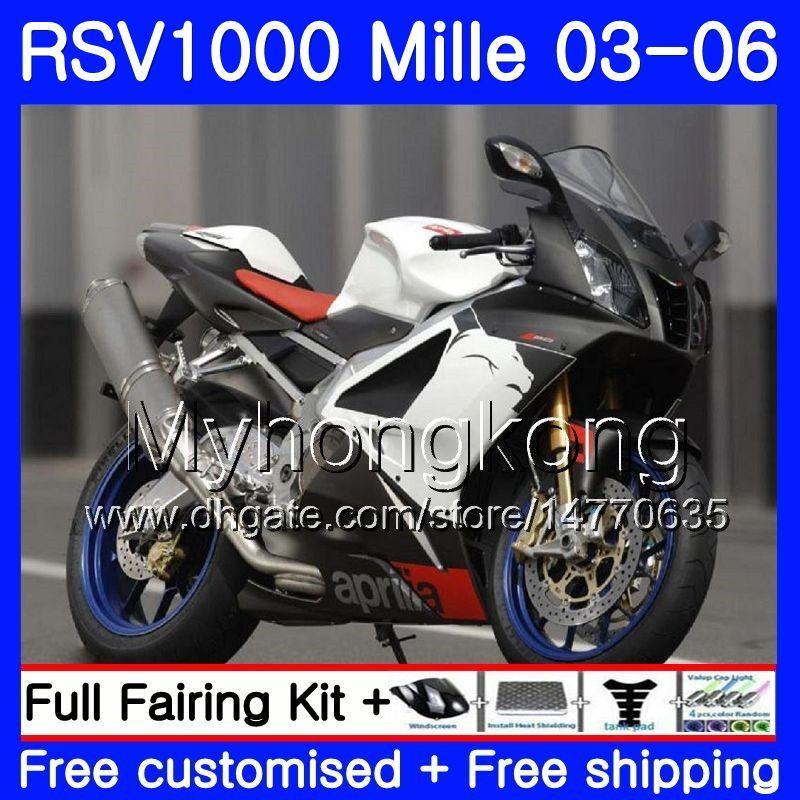 Body For Aprilia RSV 1000R 1000 RV60 Mille RSV1000 R RR 03 04 05 06 316HM.11 RSV1000RR RSV1000R GLossy white 2003 2004 2005 2006 Fairings