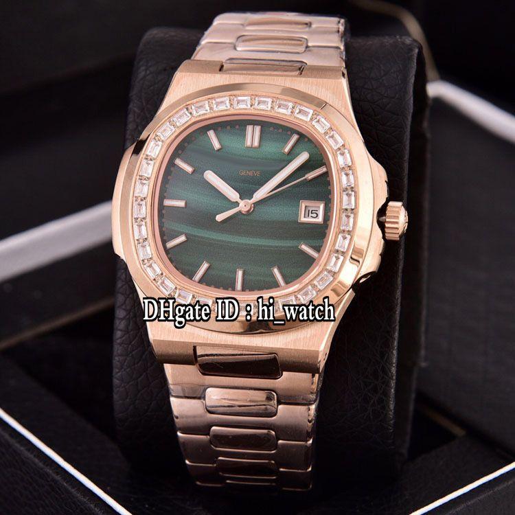 Nautilus 5711 para hombre reloj automático de oro rosa de 18 quilates del diamante del bisel verde de la textura Marcadores Stick pulsera de acero inoxidable Nueva Hi_watch H05e5