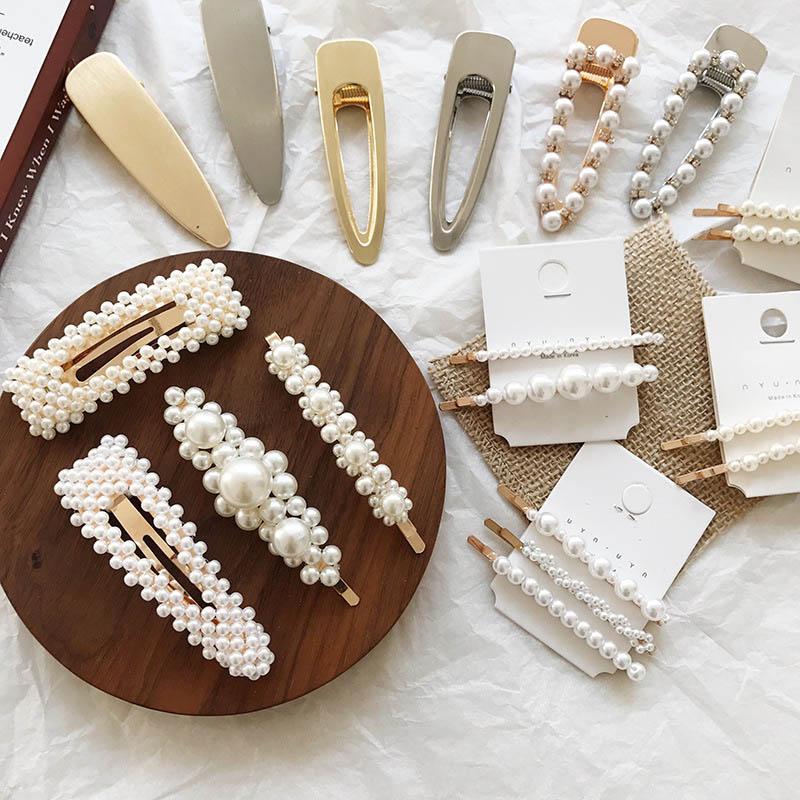 niños diseñador de las pinzas de pelo de la perla de oro niñas Barrettes Horquilla para el cabello con encanto adolescentes barrettes niños accesorios para el cabello A2552