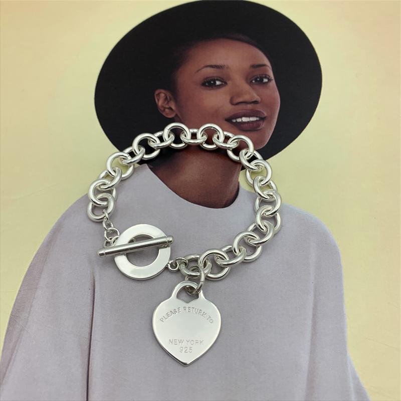 SHINETUNG 100% S925 Sterling Silber Kreis Claviclekette Herz-Umbau-Armband Mädchen Exquisite High-End-Schmuck