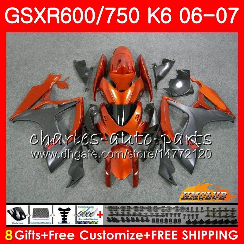 Kropp för SUZUKI GSX R600 GSX-R750 GSXR-600 GSXR600 06-07 8HC.17 GSX R750 GSXR 600 750 06 07 K6 GSXR750 2006 2007 Orange Black Fairing Kit