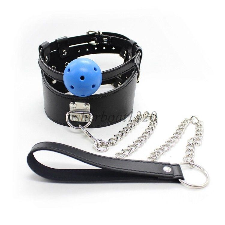 Buckled A876 Collo in pelle Colletto Colletto Restratto Leash Catena Gag Bocca Girocollo regolabile Ahopk
