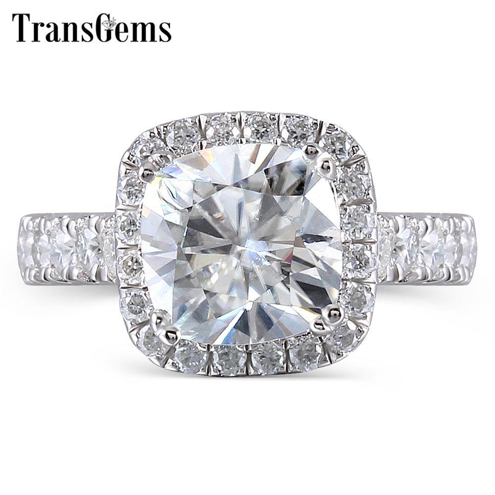 Transgems Center 2ct 7.5mm Gh colore cuscino taglio Halo fidanzamento per le donne platino placcato argento sterling 925 anello regalo Y19032201