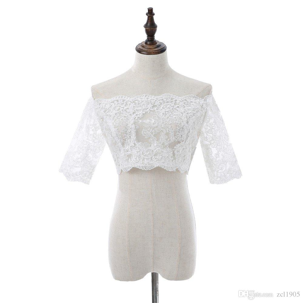 Elegant Boat Neck massagers lace appliques Wedding Bolero Women out Molded Vintage Wedding Accessories Bridal Shawl Coat