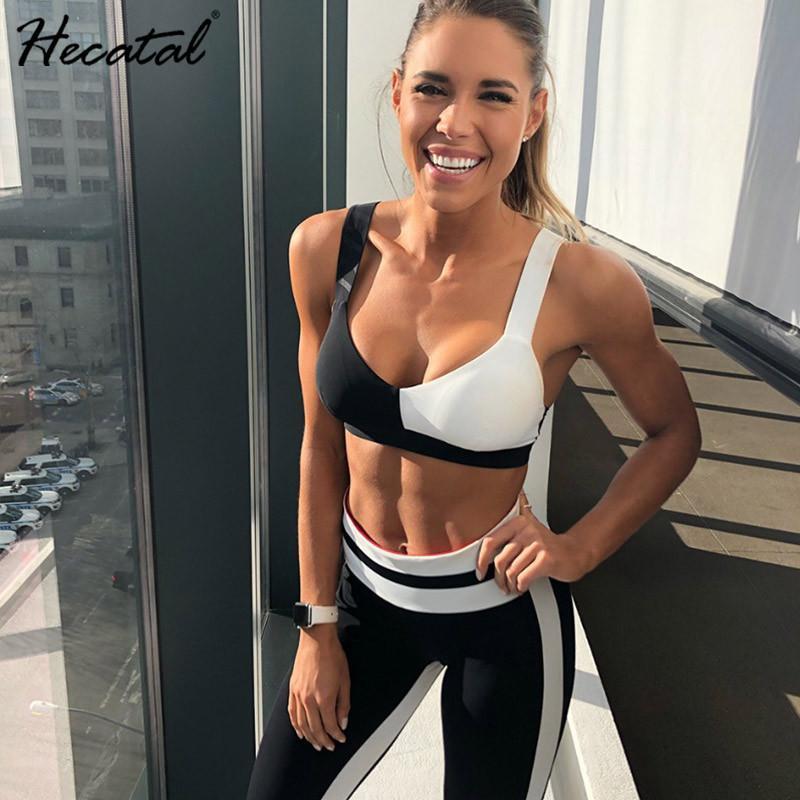 Mulheres Sportswear Treino Mulher de Fitness Academia Set Yoga Suit Feminino traje Sport Top + Leggings Correndo Workout Clothes Black White T200703
