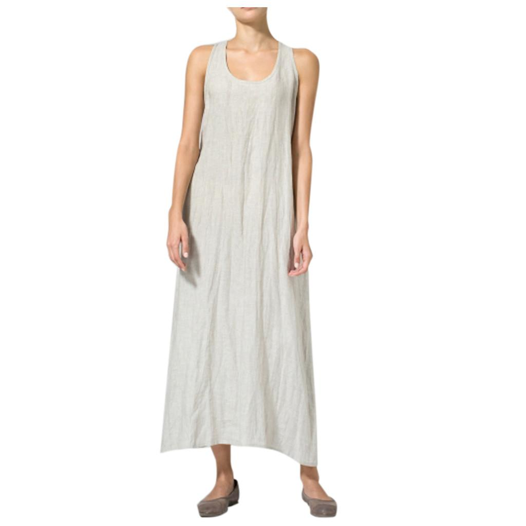 wholesale Maxi Dress Long Women Plus Size Solid Color Sleeveless Dresses Clothing Female Summer Cotton And Linen Dress