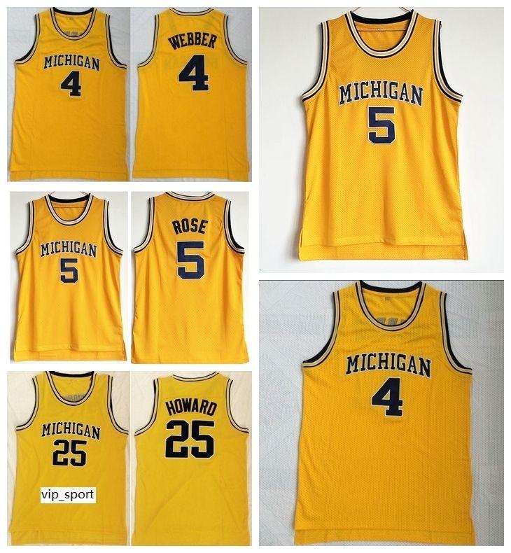 2020 Michigan Wolverines College Jalen Rose Jersey 5 Men Basketball Chris Webber 4 Juwan Howard Jersey 25 Team Color Yellow University Hot Sale From Vip Sport 10 4 Dhgate Com