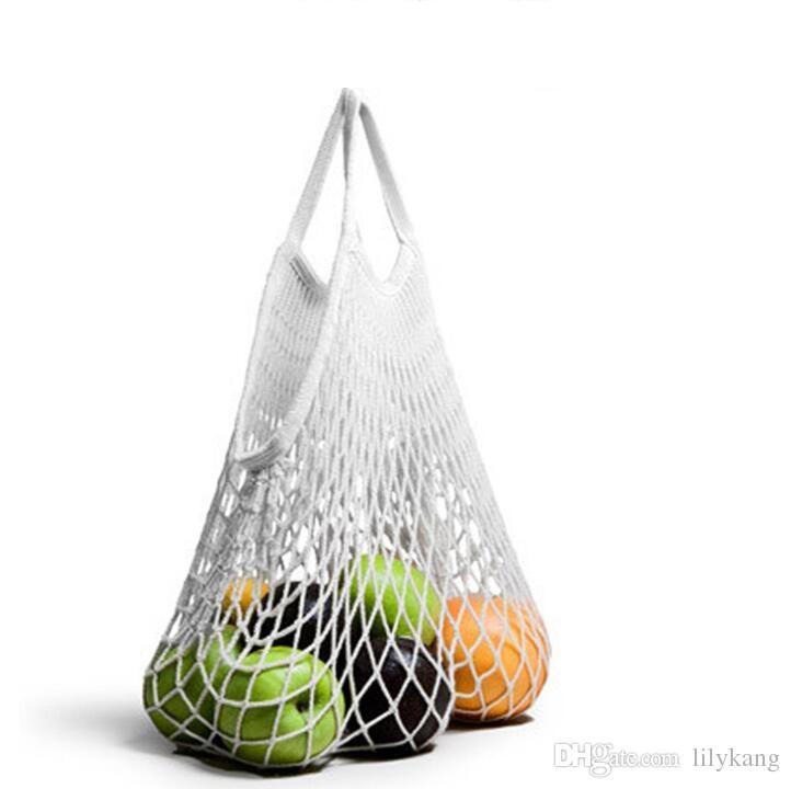 Moda Cadeia de compras Frutas Legumes saco de mantimento Tote Shopper malha Net tecido de algodão Bolsa de Ombro Totes Mão Início Storage Bag