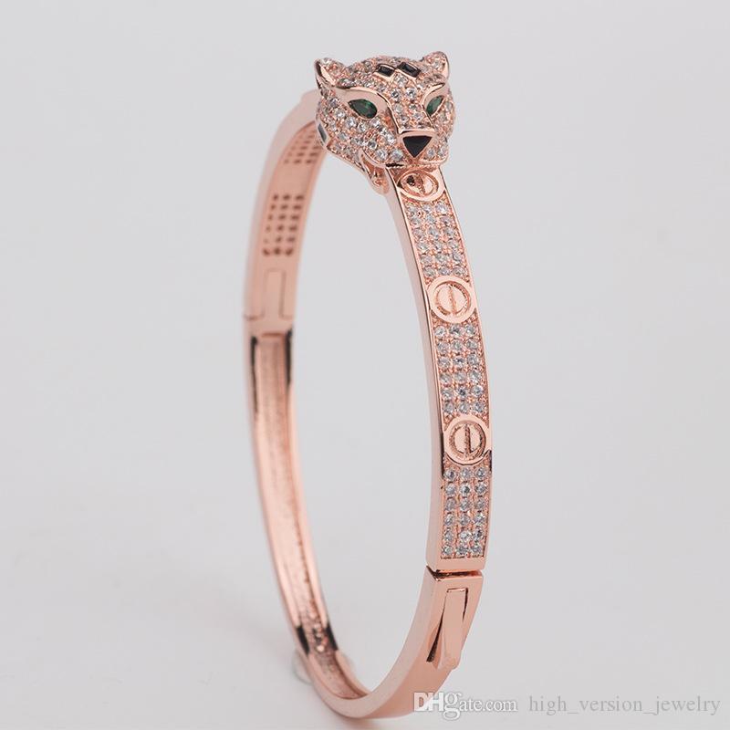 Animal diamant Bangle Femme léopard tête Bangles femmes Charms vintage de Valentine'S Day Beaux Bijoux en solde