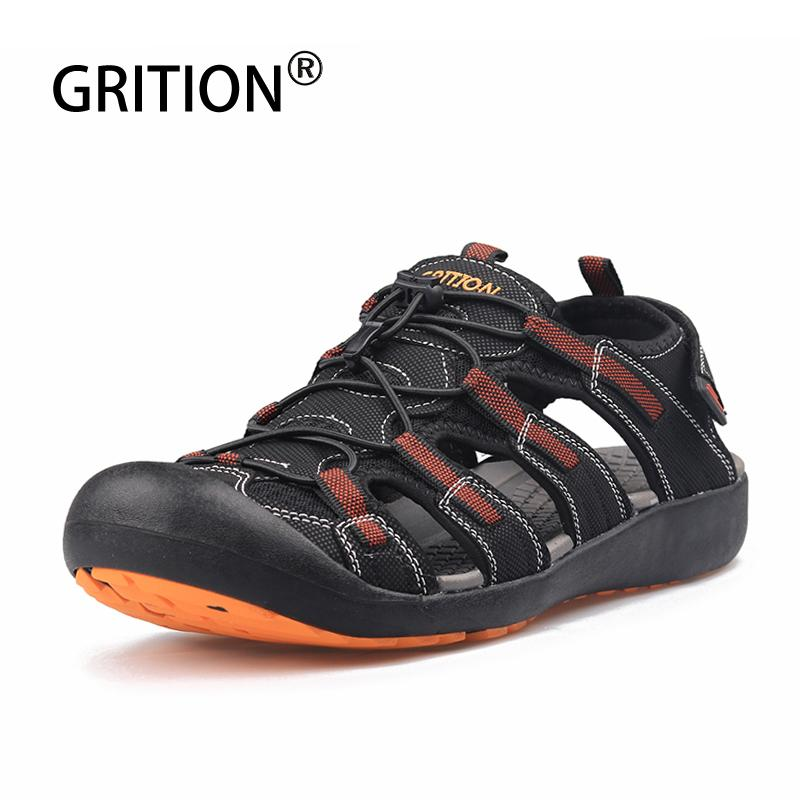 GRITION Sandals Men Walking Sport Summer Outdoor Comfy Hiking Beach Shoes Casual Flat Male Water Breathable Leather Adjust Shoes