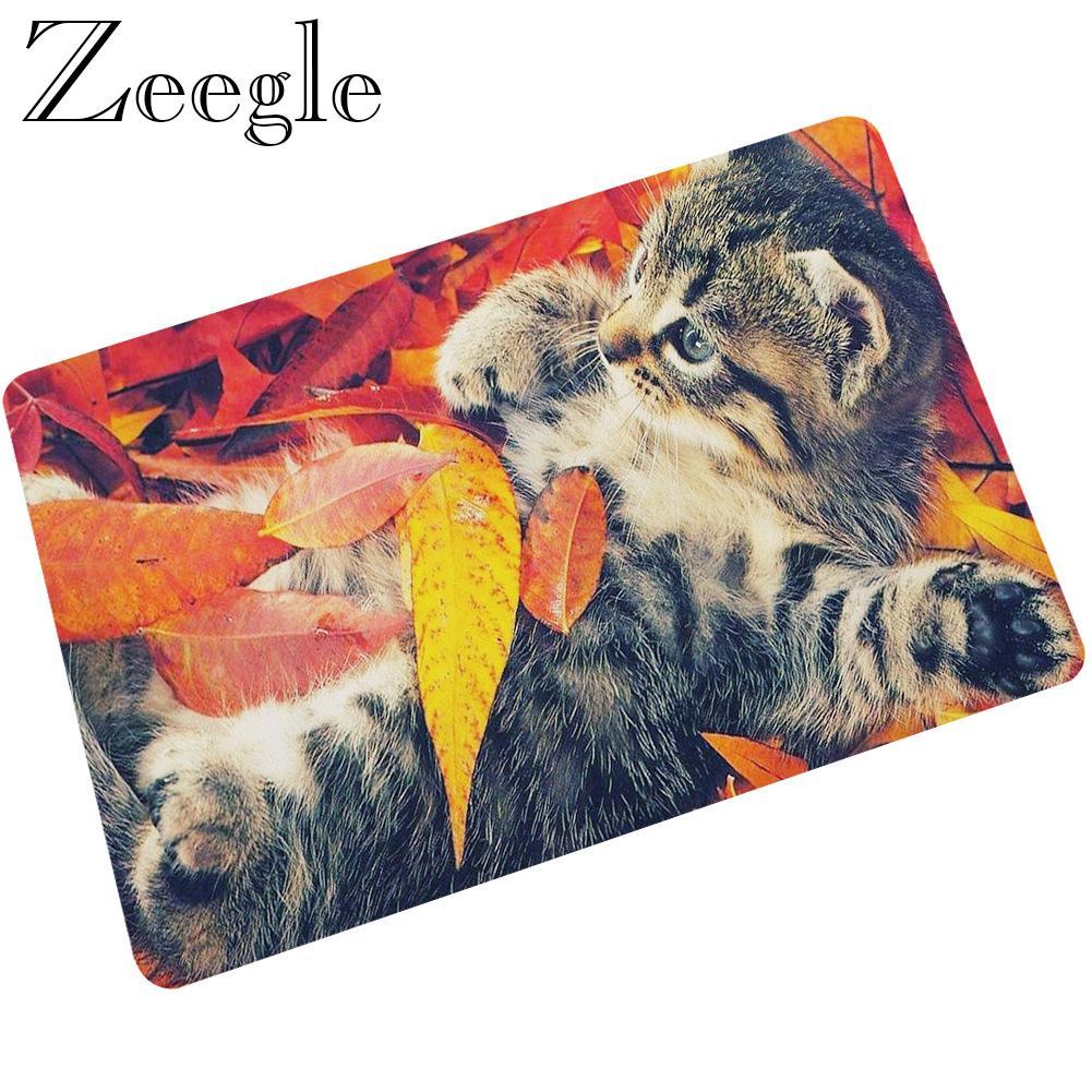 Zeegle Floor Mat Doormat Cat Printed Rubber Indoor Mat Non-slip Kitchen Carpet Shower Rug Waterproof Outdoor Rug Foot